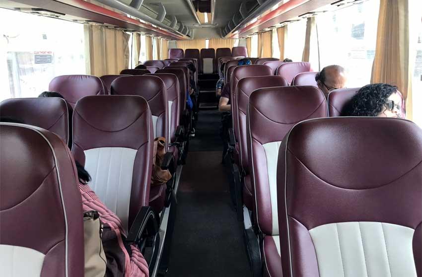 Inside Ninh binh to Halong tourist bus